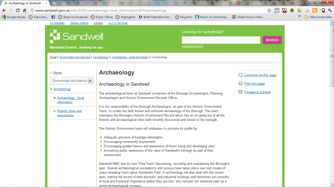 Sandwell archaeology page