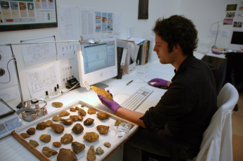 Myself researching and cataloguing stone tools from Oxfordshire at the Pitt Rivers Museum.