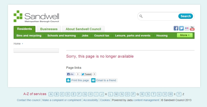 Sandwell MBC website 2013, the URL previously used for the archaeology section.