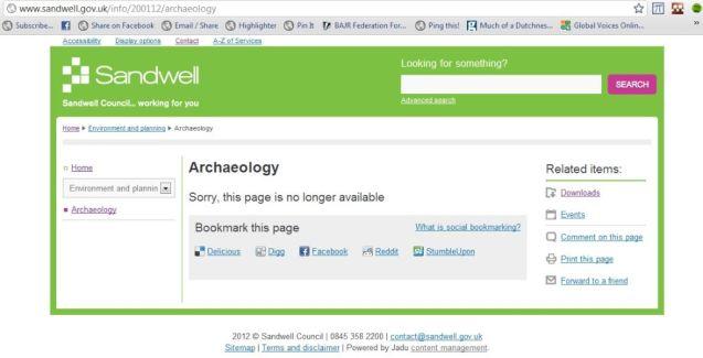 Sandwell Archaeology webpage